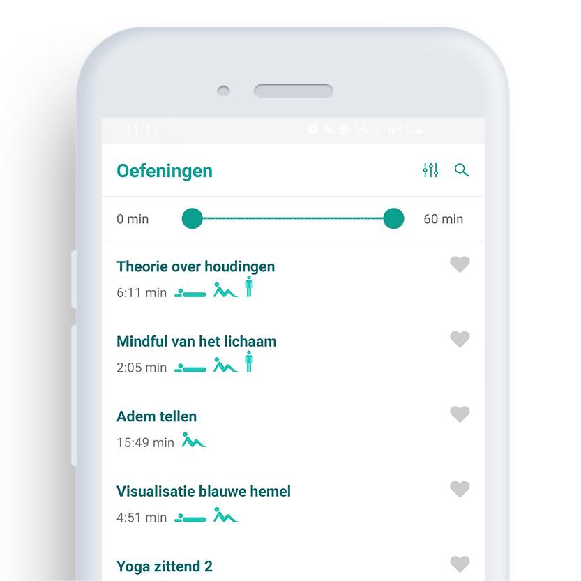 Het oefeningenscherm van de Mindfulness coach app op een mobiele telefoon